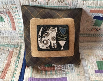 Finished! Kitty Punch Needle Pillow. Pattern by Notforgotten Farm. Blue Bell. Done in Valdani Threads. Backed in Wool.