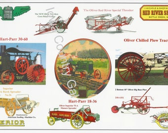 New 2007  Hart-Parr Oliver Collector's Assn Winter Banquet Laminated Place Mats Set of 8 Using Graphics From Old Literature