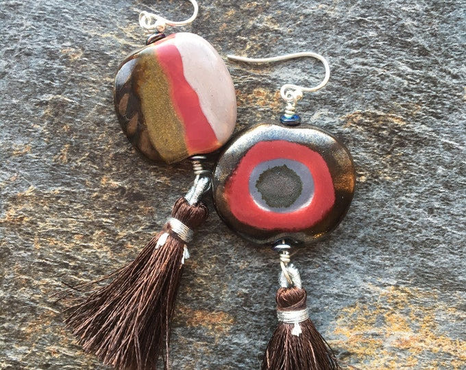 Brown Burgundy and Cream Neutral Ceramic Earrings with Tassel Accent Gift OOAK Unique African