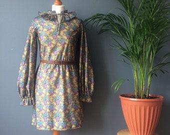 Vintage 70s Blue Green Floral Print Pleated Collar Balloon Sleeve Mini Dress 10
