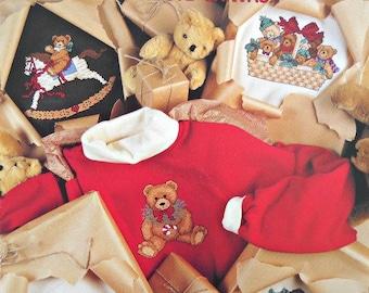 Teddy's Christmas Closet in Waste Canvas, Leisure Arts, Vintage 1990, Cross Stitch Pattern