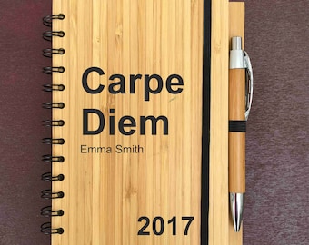 Engraved Wooden Bamboo Notebook + Pen Carpe Diem Personalised Any Name GIFT