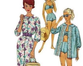 1960s Simplicity 3960 Junior Misses Two Piece Bathing Suit Shirt and Dress Pattern Womens Vintage Sewing Pattern Size 15 Bust 35 UNCUT