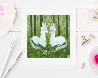 unicorn art print, whimsical art, unicorn painting, unicorn gift, unicorn artwork, kawaii art, illustration, unicorn decor, purple unic