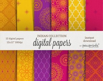Indian Mandala Digital Papers: Fuchsia Pink Purple and Yellow  Patterns-Paisley Mandala Indian Saree-12x12 Scrapbook Papers
