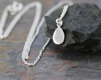dainty silver necklace, delicate necklace, sterling silver necklace, small teardrop pendant, tiny silver drop, bridesmaids necklace, N36