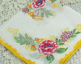 Vintage Hankie,  Soft Yelllow. Pink, Green on White  U-5