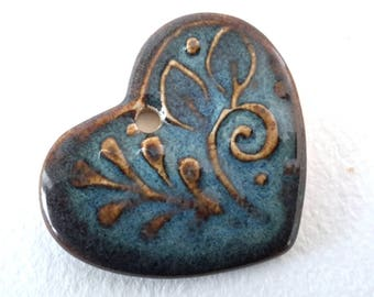 Blue and Brown Heart Pendant // Gift Tag // Heart Bead // Heart Pendant with Leaves // Brown Focal  Bead // SmallOrnament // Valentine bead