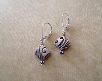 fine silver diamond shape artisan earrings   solid silver dangle earrings   patterned silver jewelry   handmade jewelry by girlthree