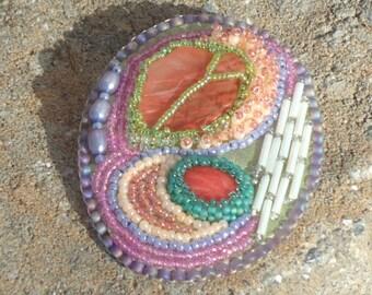 Hand made jewelry, beaded brooch, seed bead jewelry, abstract brooch, modern, beaded pins, boho, hippie, chic