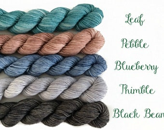 Mini-skein set of 5 sophisticated colors of Merino Sock Yarn  - Hand-dyed