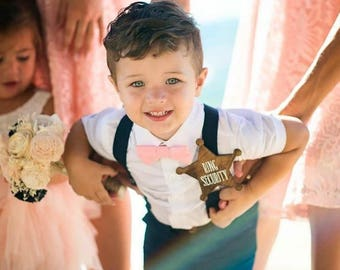 Navy Suspenders Nude Blush or Peach Bow Tie, Baby Boys Bow Tie, Kids and Adult Bow Tie Suspenders, Ring Bearers Outfits, Blush Wedding, Boys