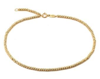 10K Gold Anklet Moon Bead Design