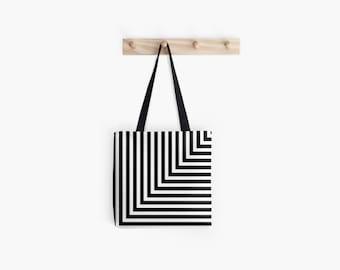 Black and White L Stripe Tote Bag
