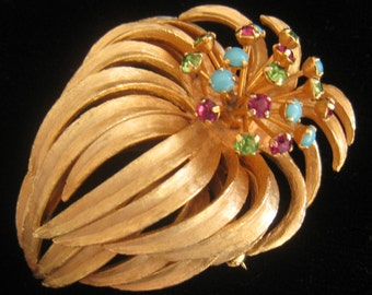 CLEARANCE PASTELLI Open Bloom Vintage Floral Brooch has Long Hanging Petals & 18 Stamen Jutting Up with Prong Set Stones Atop Each One.