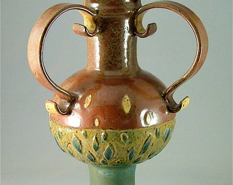DISCOUNTED *40%*  Wheel-Thrown/Hand-Built Sculptural Vessel or Urn - Brick-Red with Blue-Greens and Three Handles