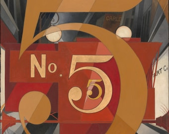 I Saw the Figure 5 in Gold by Charles Demuth Home Decor Wall Decor Giclee Art Print Poster A4 A3 A2 Large Print FLAT RATE SHIPPING
