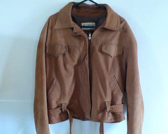 Natural brown leather jacket