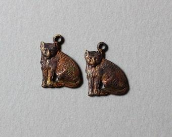 Vintage Oxidized Brass Cat Charms