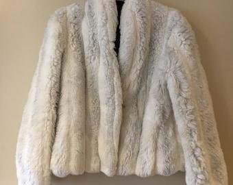 Vintage 80's White Faux Fur Jacket Coat Small/Medium