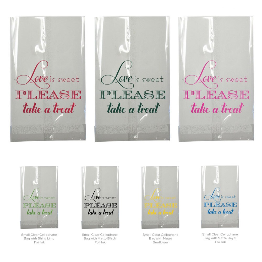 Candy Bar Bag Wedding Favor Love is Sweet Clear Small