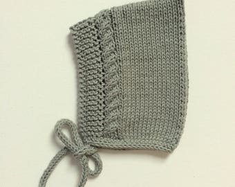 Cotton Knit Bonnet in Sage green, Cotton Summer Baby Hat, Infant Knitted Cap, Made to Order Sizes Newborn to 24 months