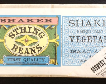 Shaker String Bean Label, Country Museum Collection, Artifax Pittsfield MA