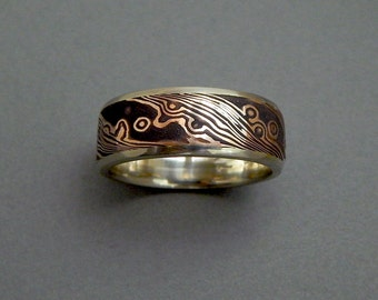 18 kt rose gold and shakudo Mokume-gane band