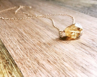 Raw Citrine Necklace  -  Citrine Necklace - Raw Stone Necklace - Raw Crystal Necklace -Raw Citrine  - November Birthstone  Necklace - Gift