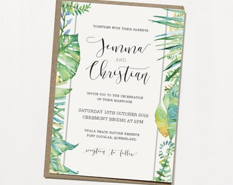 Printable Wedding Invitation - Under The Palms / Tropical DIY Wedding Stationery Suite