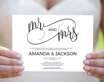 Mr and Mrs wedding pdf invitations with modern wedding calligraphy for a simple wedding invite. Print on kraft wedding invitation. WDH301_27