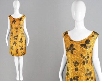 Vintage 60s Shift Dress Womens Medium Dress Orange & Brown Bright Summer Dress Paisley Print Silky Mod Dress Sleeveless Dress Tricel Dress