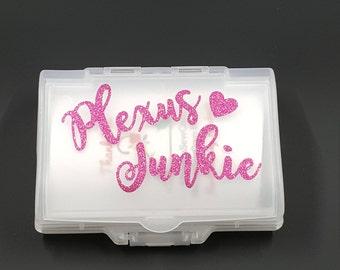 Plexus Junkie Case, Vitamin Case, Plexus Slim and Vitamin Case, Pink Glitter Plexus accessorie case.6 vitamin comapartments