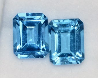 6.23 CTS Certified Natural Blue Topaz Octagon Cut 9x7 mm Well Matched Pair Loose Gemstones