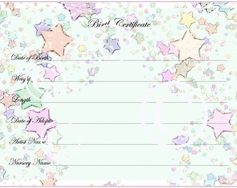 Birth certificate etsy reborn baby doll birth certificate instant download to print free ship yadclub Image collections
