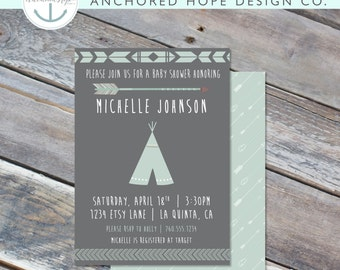 Boho Teepee Pow Wow Baby Shower Invitation- 5x7 - Arrow - Tribal - Digital Printable File - Cardstock