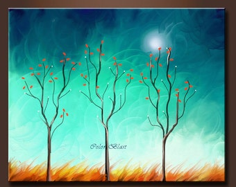 Abstract Lanscape Art Print- Moonlit- Free Shipping inside US