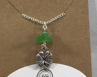 shamrock necklace / green sea glass necklace / st patricks day jewelry / authentic sea glass jewelry / four leaf clover necklace