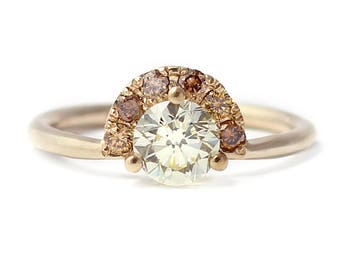 Champagne Engagement Ring, Brown Diamond Ring, One Carat Engagement Ring, Halo Engagement Ring, Crescent Engagement Ring, One Carat Diamond