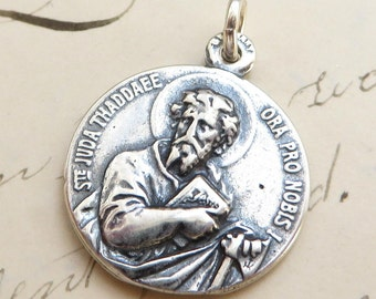 St Jude / St Joseph Medal - Patron of lost causes / Patron of fathers - Sterling Silver Antique Replica