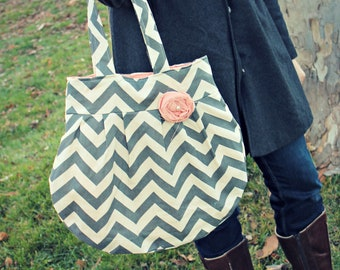 Grey Chevron Handbag, Grey with Pink Liner and Pink Flower