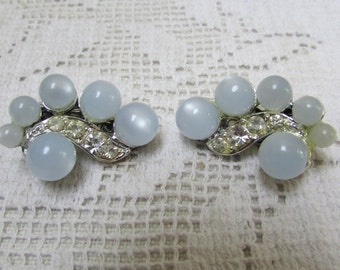 Vintage pale blue moonglow and rhinestones 50's  clip on  earrings unsigned beauties