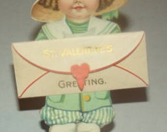 SALE Nice Vintage Stand Up Valentine Of Little Girl