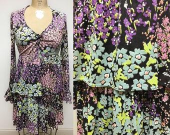 Vintage 1960's Multi Color Floral Pattern Empire waist LACE UP mini Dress XS S