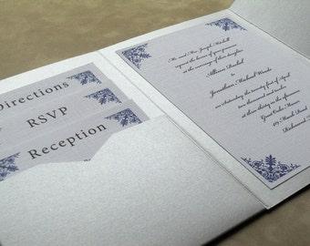 Damask Corners Pocketfold Invitation Suite (25 Invitation Sets)