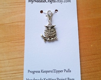 Owl Progress Keeper, Knitting Marker, Crochet Stitch Marker, Removable Stitch marker, Zipper Pull for your Project Bag