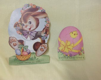 2 VintAge Easter Greeting Cards Peep  1937 Easter Bunny 1940 Scrapbook crafts Articulated