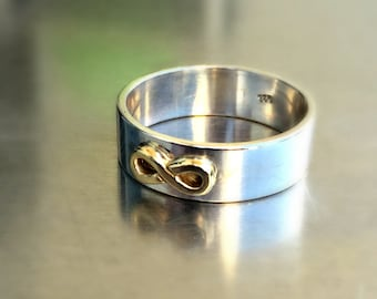 Infinity band, Promise band, Valentine gift, Gold and silver ring, Mens engagement ring, Mens wedding band, Man promise ring, Love ring