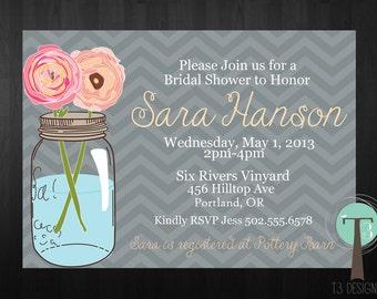 Mason Jar Invitation, Bridal Shower Invitation, Wedding Shower, Mason Jars, Chevron, Chalkboard, invite, Invitation