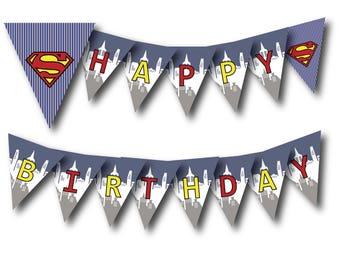 Superman Birthday Banner Digital File